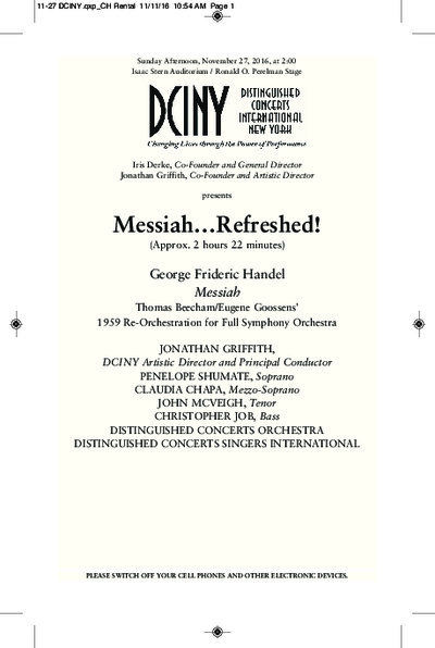 Distinguished Concerts Orchestra & Singers International - Messiah Refreshed at Isaac Stern Auditorium